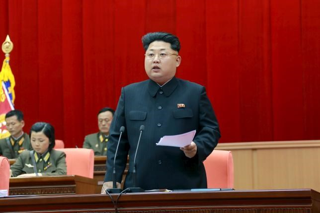 North Korean leader Kim Jong Un speaks during the 5th meeting of training officers of the Korean People's Army in this undated photo released by North Korea's Korean Central News Agency (KCNA) in Pyongyang April 26, 2015.