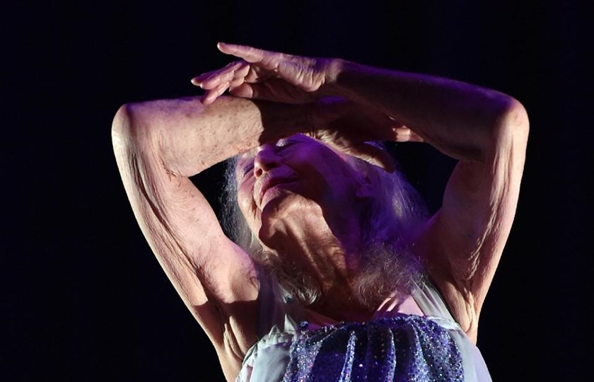 Eileen Kramer, a 100-year-old dancer and choreographer, performs during a full dress rehearsal of her latest work, The Early Ones, at a theatre in north Sydney on March 12, 2015