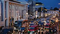 Rush hour traffic in Bandung, Indonesia.
