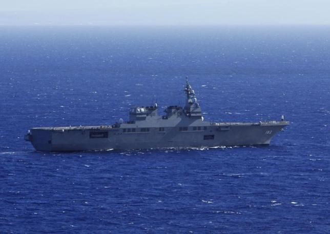 The Japan Maritime Self-Defense Force (JMSDF) ship JS ISE sails, south of Oahu, in a Humanitarian Assistance and Disaster Relief drill during the multi-national military exercise RIMPAC in Honolulu, Hawaii, July 12, 2014.