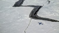 This October 27, 2014 photo provided by NASA shows the shadow of NASA''s DC-8 on Antarctic sea ice