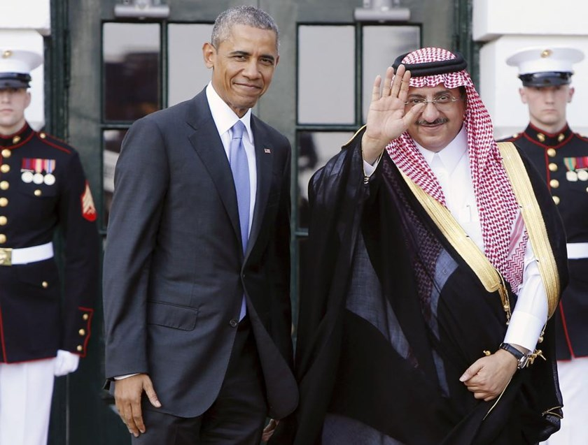 U.S. President Barack Obama (L) welcomes Saudi Arabia's Crown Prince Mohammed bin Nayef as he plays host to leaders and delegations from the Gulf Cooperation Council countries at the White House in Washington May 13, 2015.