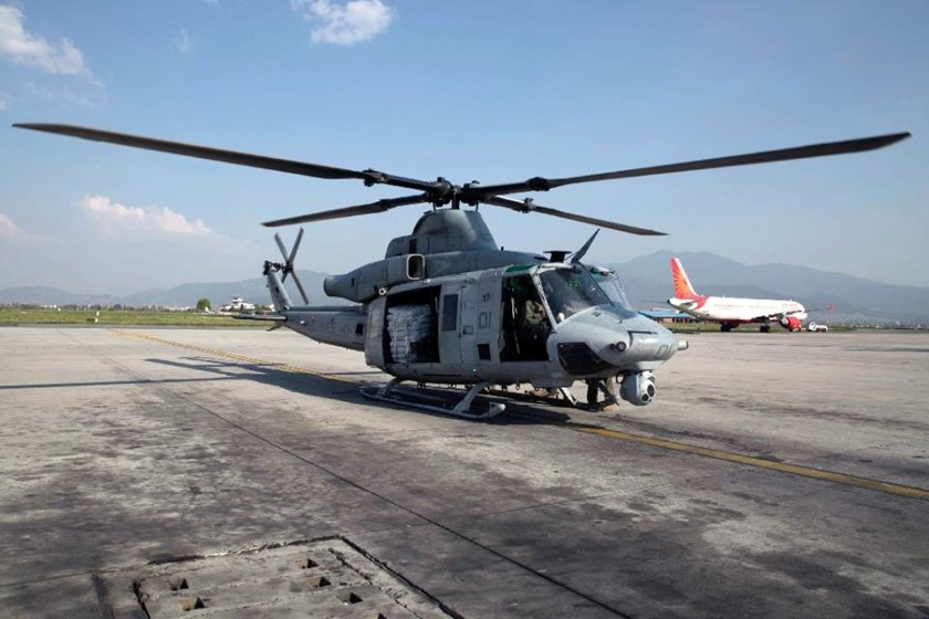 A US Marine Corps UH-1Y Huey prepares to take off with supplies at the Tribhuvan International Airport in Kathmandu, Nepal, May 5, 2015
