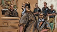 Terror suspects Khalid al-Fawwaz (2nd L) and Adel Abdul Bary (3rd L) are seen in this courtroom sketch during a court appearance in Manhattan Federal Court in New York in this file photo taken on October 6, 2012. T