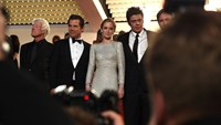 Actors Josh Brolin, Emily Blunt and Benicio Del Toro at the Cannes premiere of Sicario.
