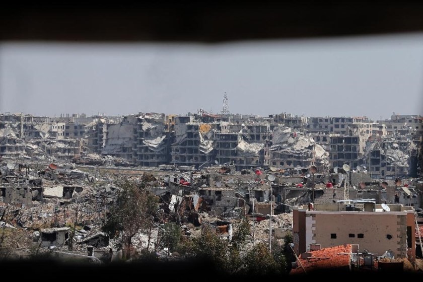 Moscow said mortar fire aimed at its embassy complex in Damascus appeared to have come from the Jobar neighborhood of the Syrian capital