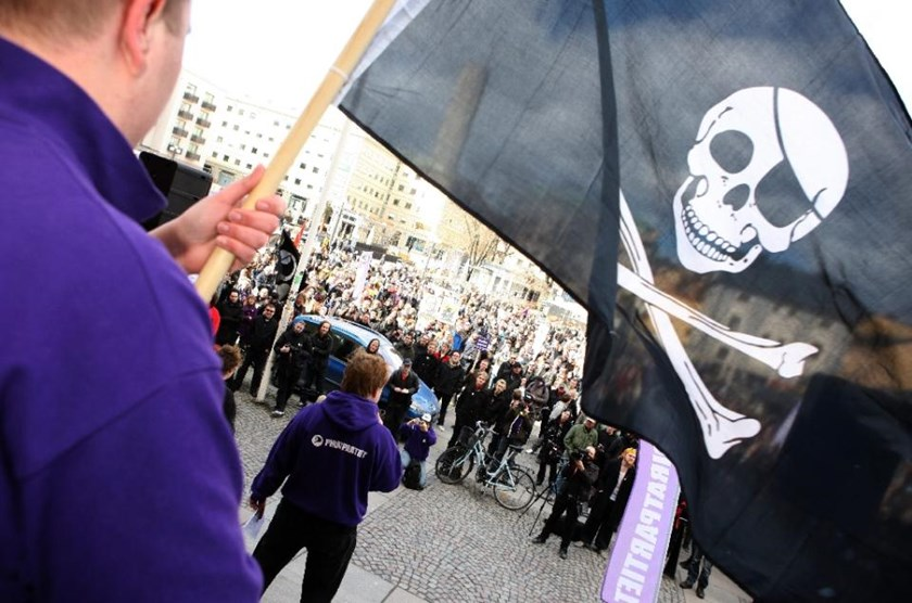 Supporters of the web site 'The Pirate Bay', one of the world's top illegal filesharing websites, demonstrate in Stockholm, on April 18, 2009