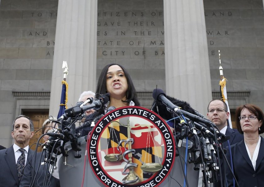 Baltimore state attorney Marilyn Mosby speaks on recent violence in Baltimore, Maryland in this May 1, 2015 file photo.