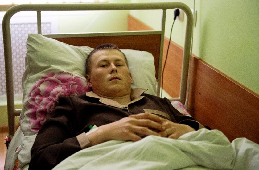 A man whom the Ukrainian security service allege to be one of two captured Russian soldiers, lies in the Kiev military hospital on May 19, 2015