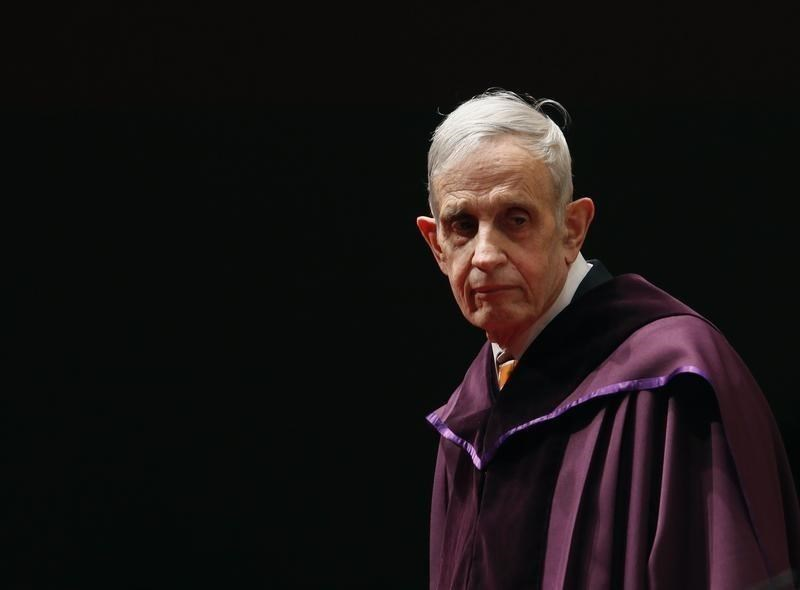 U.S. mathematician and Nobel Laureate John Nash, 83, stands on the podium as he receives an Honorary Doctor of Science at the City University of Hong Kong November 8, 2011.