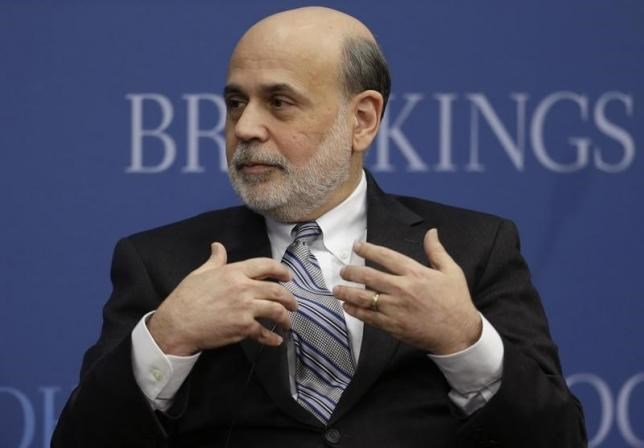 Outgoing U.S. Federal Reserve Board Chairman Ben Bernanke participates in a discussion at the Brookings Institution in Washington in this January 16, 2014 file photo.
