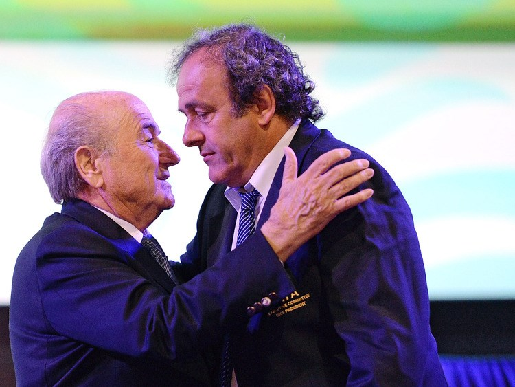 FIFA President Sepp Blatter and UEFA President Michel Platini. Photographer: Ullstein Bild via Getty Images