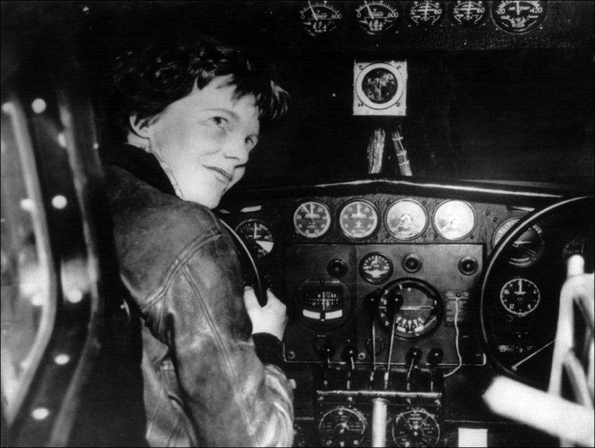 Amelia Earhart, shown here in the cockpit of her plane in the 1930s