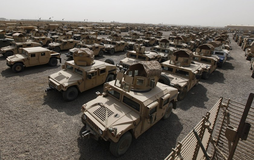 A view of humvees parked at a courtyard at Camp Liberty in Baghdad