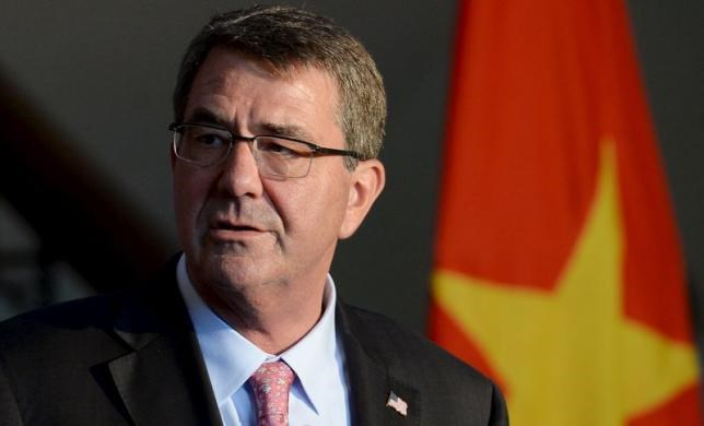 U.S. Defense Secretary Ash Carter speaks during a news conference in Hanoi June 1, 2015.