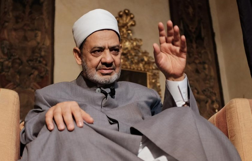 Egyptian grand Imam of al-Azhar, Sheikh Ahmed el-Tayeb gives an interview to Agence France Presse on June 9, 2015 in Florence