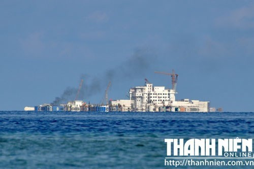 China's construction on an artificial island it built illegally on Hughes Reef, Spratly Islands, which is claimed by Vietnam. Photo: Mai Thanh Hai