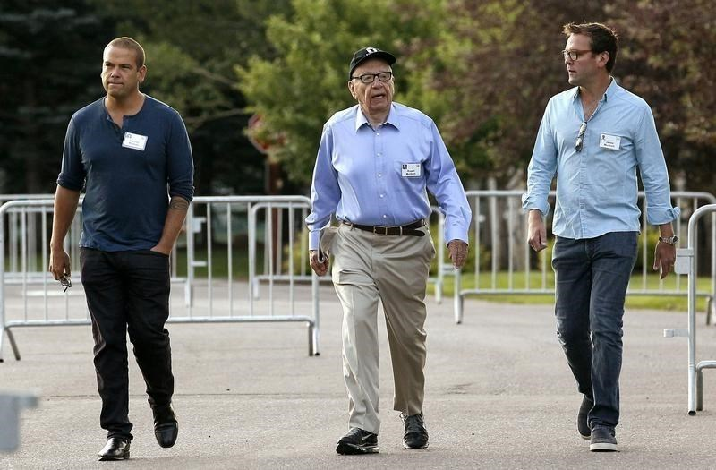 Rupert Murdoch, CEO of News Corp. and 21st Century Fox, arrives with sons Lachlan (L) and James (R) for the first session of annual Allen and Co. conference