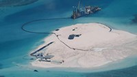 Alleged reclamation by China on what is internationally recognised as the Johnson South Reef in the South China Sea, otherwise known as the Mabini Reef by the Philippines and Chigua Reef by China (AFP Photo/Department Of Foreign Affairs)