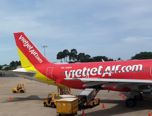 A VietJet Air plane in Ho Chi Minh City's Tan Son Nhat Airport.