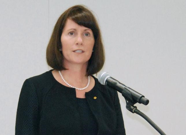 Toyota Motor Corp's Managing Officer and Chief Communications Officer Julie Hamp speaks to media during a news conference in Nagoya, central Japan, in this photo taken by Kyodo June 17, 2015 and released by Kyodo on June 18, 2015.