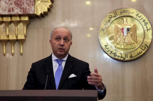 French Foreign Minister Laurent Fabius speaks during a joint news conference with Egyptian Foreign Minister Sameh Shukri (not pictured) at the presidential palace in Cairo, Egypt, June 20, 2015.
