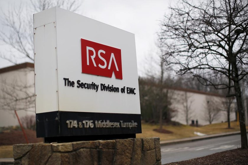 A sign marks the entrance to RSA's facility in Bedford, Massachusetts, in this March 28, 2014 file photo.