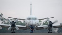 A Japanese Maritime Self-Defense Force P-3C Orion patrol aircraft prepares to take off as part of a joint training exercise with the Philippines in Puerto Princesa, western Philippine on June 24, 2015