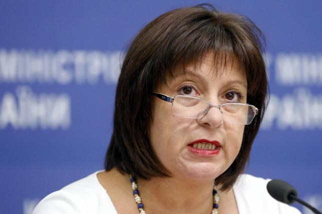 Ukrainian Finance Minister Natalia Yaresko speaks to the media during news conference in Kiev, Ukraine, June 19, 2015.