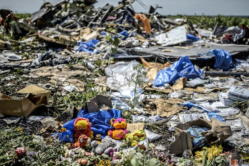 Toys are pictured amongst the wreckage at the crash site of the Malaysia Airlines flight MH17 near the village of Grabove, in Ukraine's Donetsk region on July 20, 2014