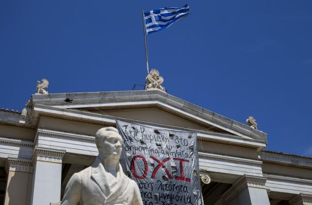 The word 'No' in Greek is seen on a banner hanging from Athens' University building in Athens, Greece, July 2, 2015.
