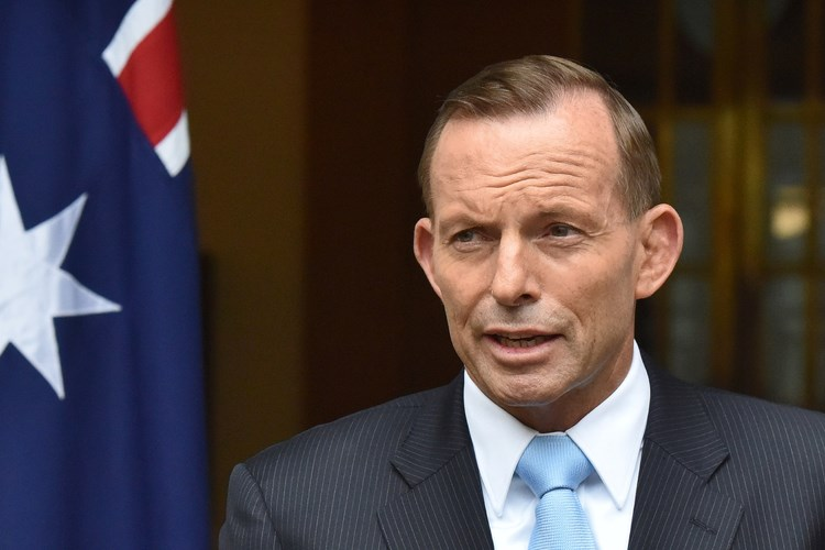 Tony Abbott, Australia's prime minister, at a news conference in Australia. Photographer: Mark Graham/Bloomberg