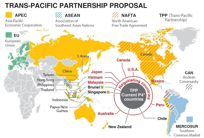 Map locating trade blocs and nations that may join a proposed Trans-Pacific Partnership. Graphic: Reuters