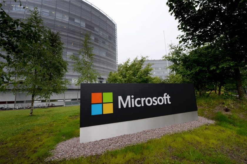 A Microsoft sign is pictured at its Finnish headquarters in Espoo, Finland July 8, 2015.