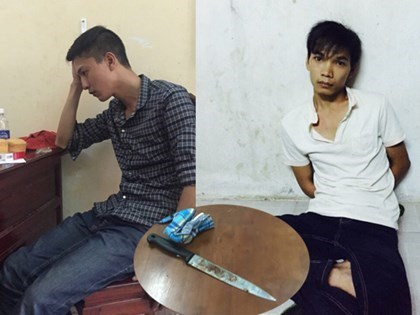 Nguyen Hai Duong (L) and Vu Van Tien, the suspects in the murder of six people in Binh Phuoc; (inset) a knife allegedly used in the murder