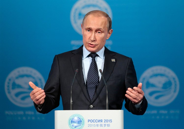 Russian President Vladimir Putin speaks at a news conference after the Shanghai Cooperation Organization (SCO) summit in Ufa, Russia, on July 10, 2015. Photographer: Ivan Sekretarev/AP Photo