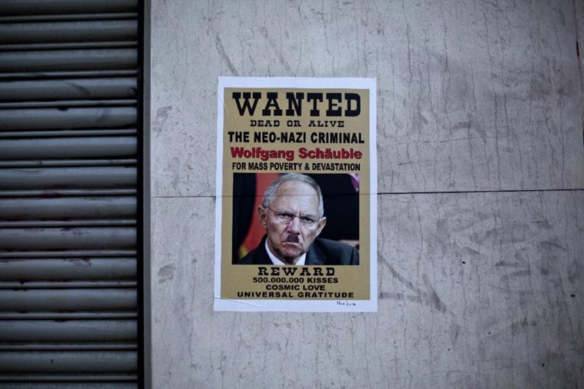 A poster depicting German Finance Minister Wolfgang Schaeuble in central Athens, on July 12, 2015