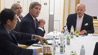 U.S. Secretary of State John Kerry (3rd R), U.S. Secretary of Energy Ernest Moniz (2nd R) and French Foreign Minister Laurent Fabius (R) meet at the Palais Coburg, the venue for nuclear talks in Vienna, Austria July 14, 2015.