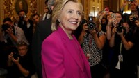 U.S. Democratic Presidential candidate Hillary Clinton arrives at the Senate Democratic weekly policy luncheon on Capitol Hill in Washington July 14, 2015.