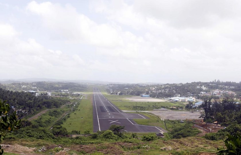 A general view of the runway controlled by the Indian military is pictured at Port Blair airport in Andaman and Nicobar Islands, India, July 4, 2015.
