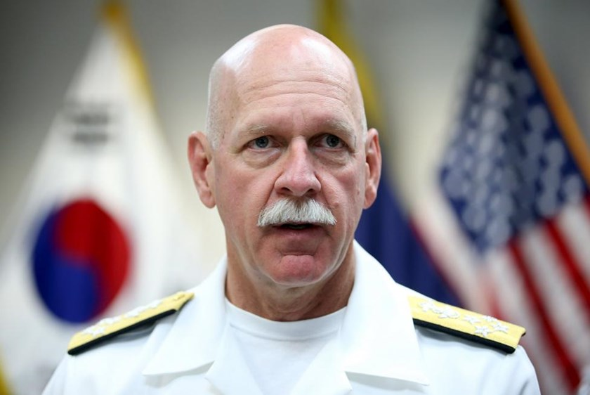 Admiral Scott Swift, the commander of the U.S. Pacific Fleet, speaks during an interview at a U.S. army base in Seoul, South Korea, July 20, 2015.