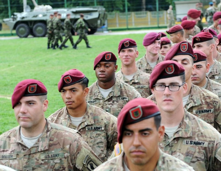 Ukrainian and US servicemen take part in a ceremony before a drill in Yavoriv polygon, Lviv district, western Ukraine on July 20, 2015