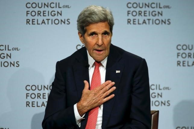 U.S. Secretary of State John F. Kerry speaks to the audience as he discusses the Iran nuclear deal with Council on Foreign Relations President Richard N. Haass at the Council on Foreign Relations (CFR) in New York July 24, 2015.