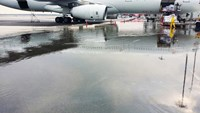 Water ponding at Bay Q8 at Kuala Lumpur International Airport's new budget terminal. Source: via Bloomberg
