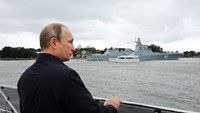 Russian President Vladimir Putin attends a ceremony marking Navy Day in Baltiysk in the Kaliningrad region on July 26, 2015