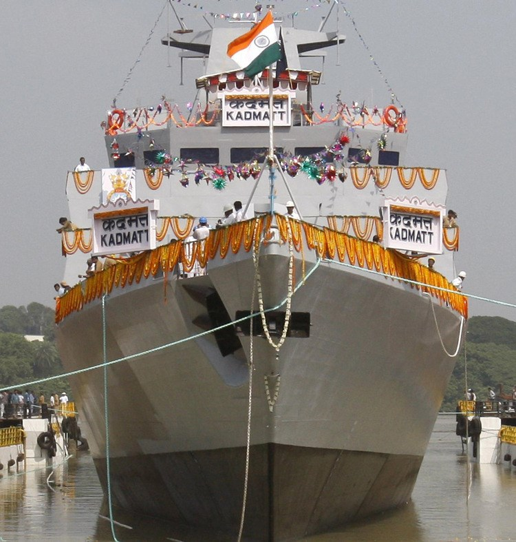 The Indian Navy's Kadmatt warship is displayed during its launching ceremony at Garden Reach Shipbuilders & Engineers Ltd. (GRSE) in Kolkata, India. Source: Ministry of Defence, Government of India, via Bloomberg