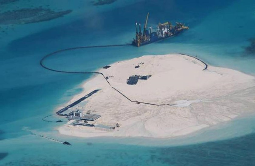 Alleged reclamation by China on what is internationally recognised as the Johnson South Reef in the South China Sea, otherwise known as the Mabini Reef by the Philippines and Chigua Reef by China