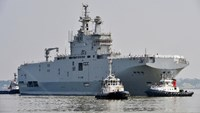 The Sevastopol mistral warship, pictured here on March 16, 2015, is one of two mammoth warships that France hopes to resell after a cancelled delivery to Russia