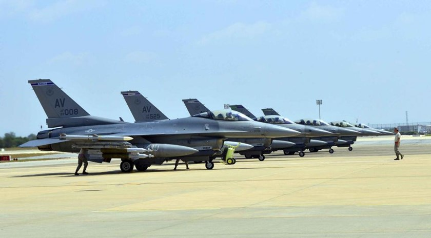 Six U.S. Air Force F-16 Fighting Falcons from Aviano Air Base, Italy, are seen at Incirlik Air Base, Turkey, after being deployed, in this U.S. Air Force handout picture taken August 9, 2015.