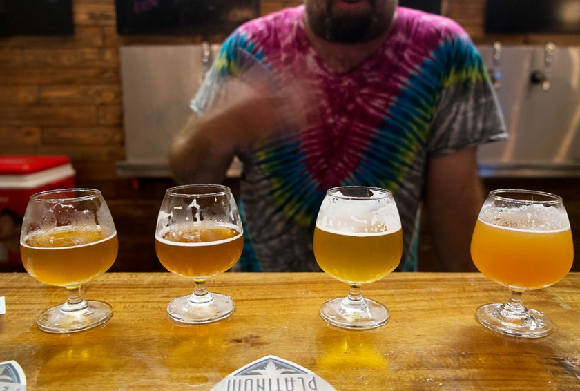 A flight of beers including Gustafson's Xấu mà Chảnh IPA, Platinum's Golden Ale, Phat Rooster's Amber Ale and the Pasteur Street Brewing Company's Saigon Saison. The whole flight cost roughly US$6. Photo: Calvin Godfrey